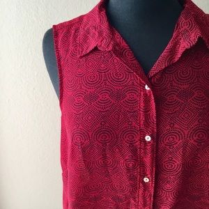 Red and Black Abstract Print Button Up Blouse